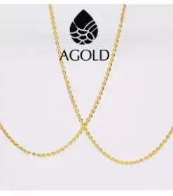 AGOLD ซื้อคู่ถูกกว่า สร้อยคอ ทองคำแท้ 96.5% 1 สลึง (3.8 กรัม) ลายโซ่โปร่ง ฟรีกล่องเครื่องประดับ