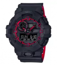 CASIO G-SHOCK รุ่น GA-700SE-1A4DR (CMG) นาฬิกาข้อมือสายเรซิ่น สีดำ แดง สายทูโทน